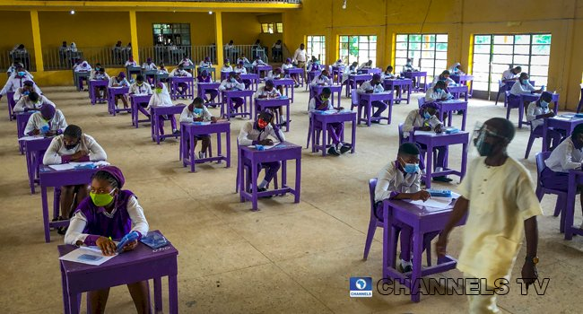 IN PICS: WAEC Exams Begin As Students Maintain Physical Distance