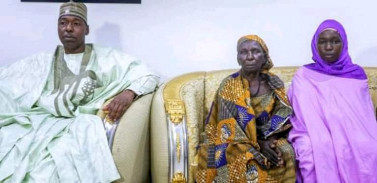 BREAKING: Zulum Receives Returning Chibok Schoolgirl, Reunites Her With Family